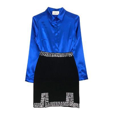 silky shirt blouse & bling mini skirt